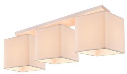 Lampa sufitowa biała + tkany beżowy abażur 3xE27 Boho Candellux 33-58393