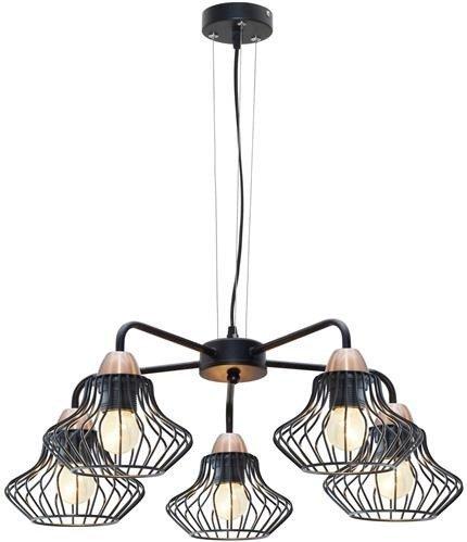 Lampa sufitowa wisząca 5x60W E27 czarny Alen 35-67043
