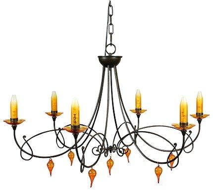 Lampa wisząca brązowa żyrandol 6x40W G9 Castel Candellux 36-84708
