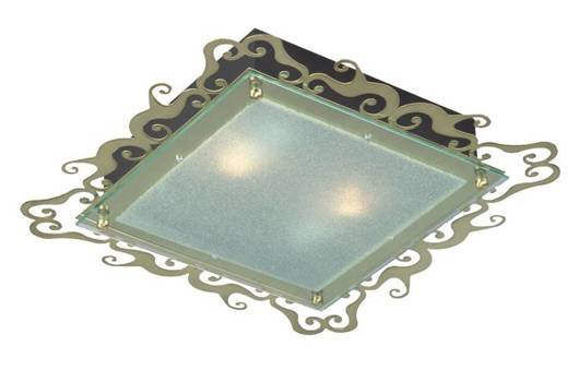 Casablanca Plafon 2X60W E27 38cm patynowy kwadrat